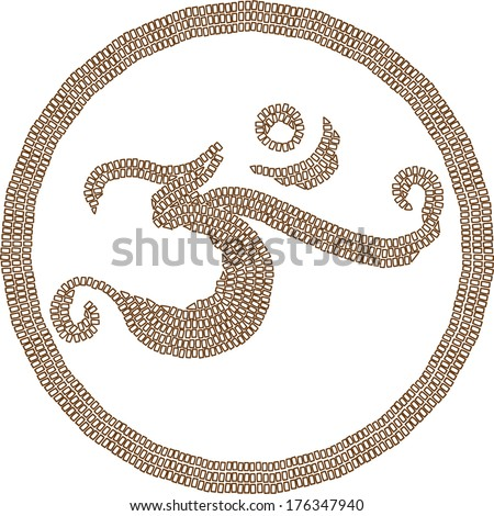Hinduism religion symbol om created in mosaic style on white background - stock vector