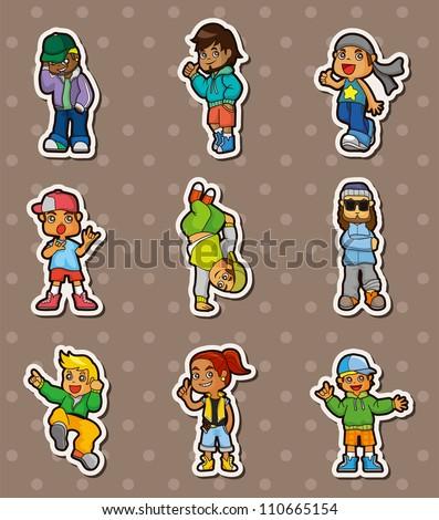 hip hop boy stickers - stock vector