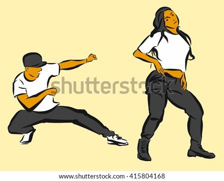 Hip Hop Choreography, Hand Drawn Sketched Artwork - stock vector