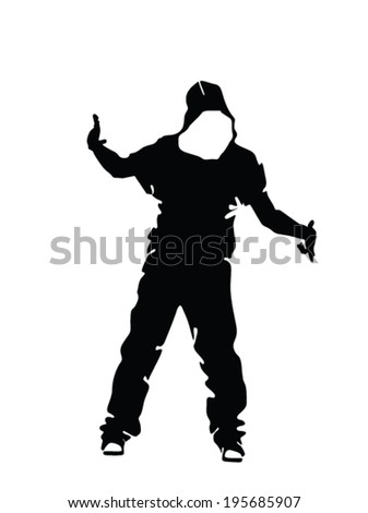 hip hop dancer silhouette vector illustration