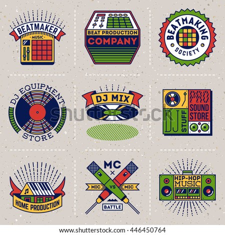 Hip-Hop Music Insignias Color Logotypes Template Set. Line Art Vector Elements. - stock vector