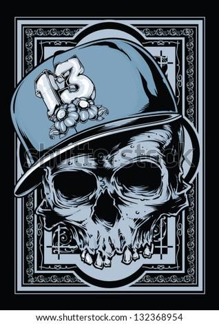 Hip hop skull - stock vector