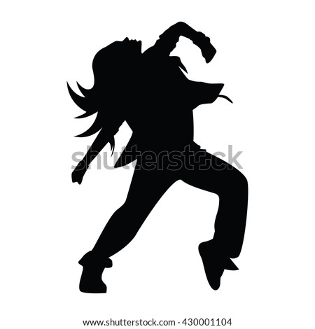 Hip-hop woman dancer vector silhouette isolated on white background