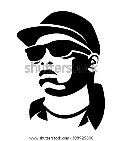 Hip muscular black man in sunglasses - stock vector