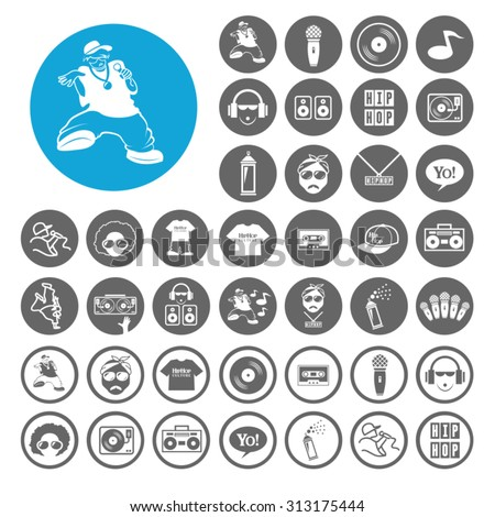 Hiphop icons set. Illustration EPS10 - stock vector