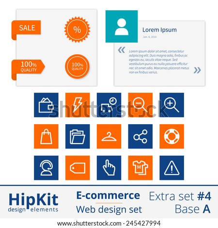 HipKit E-commerce web design elements extra set 4. Base A. Contains testimonials form, labels sale and 100 quality, 15 icons. Line thickness fully editable. Text outlined. Free font Source Sans Pro - stock vector