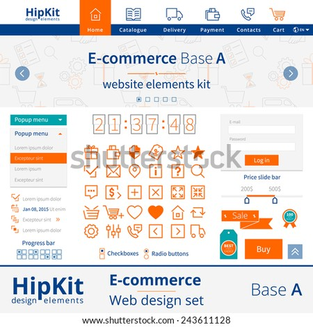 HipKit E-commerce web design elements set. Base A. Contains menu icons, popup menu, slide bar, authorization form, 30 icons. Line thickness fully editable. Text outlined. Free font Source Sans Pro