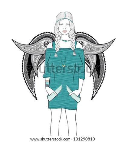 Hippie Angel - stock vector