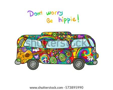 Hippie bus hippiepainted car peace love image vectorielle de stock de 573895990 shutterstock - Dessin peace and love ...