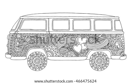 Hippie Bus Volkswagen Vector Hand Drawn Illustration For Adult Coloring Book Freehand Sketch