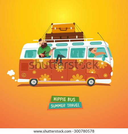Hippie camper van. Youth traveling by a vintage microbus. Vector colorful illustration in flat style - stock vector