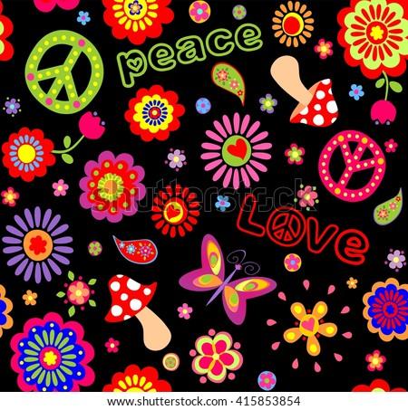 Hippie childish wallpaper - stock vector