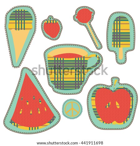 hippie embroidery colorful summer patches collection. vector set illustration coffee, apple, watermelon, lollipop, strawberry, ice cream - stickers, quirky cartoon patches badges or fashion pin badges