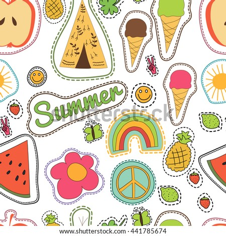 hippie embroidery colorful summer patches pattern. Vector seamless pattern with pineapple, watermelon, ice cream, lemon, butterfly, wigwam, clover, strawberry, sun smile rainbow pacific