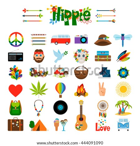 Hippie flat icons. Vector hippie colored signs
