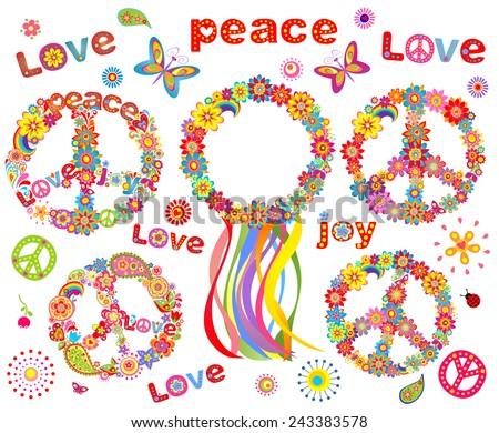Hippie flowers wreath - stock vector