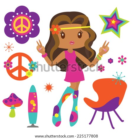Hippie girl with psychedelic style elements - stock vector