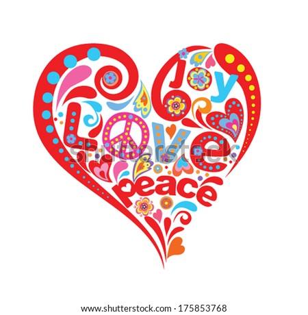 Hippie heart - stock vector