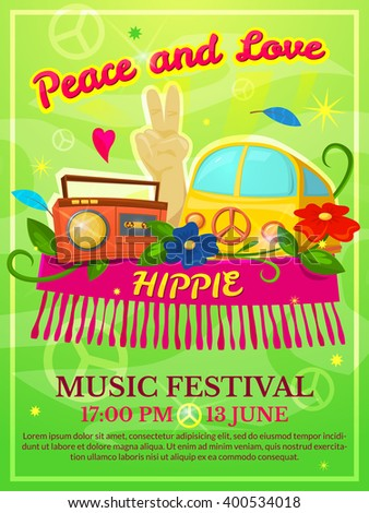 Hippie music festival poster, colorful vector illustration  - stock vector