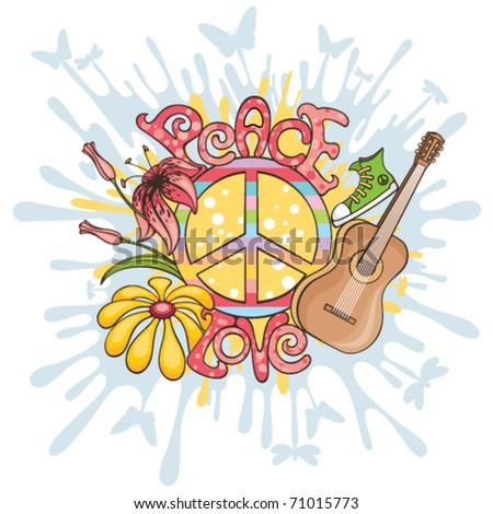 Hippie Peace Symbol - stock vector