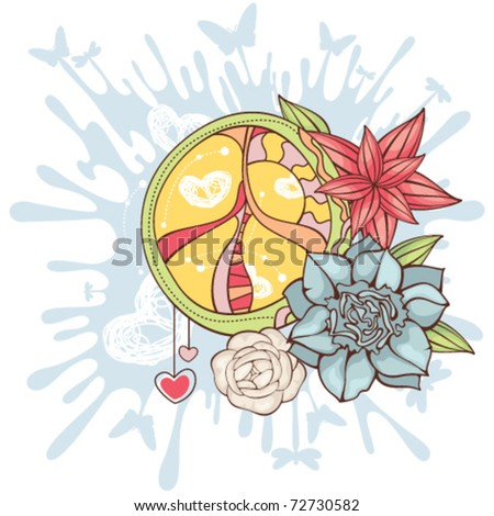 Hippie peace symbol - stock vector
