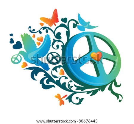 hippie peace symbol isolated on white - stock vector