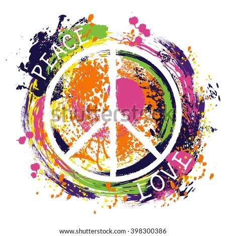 Hippie Peace Symbol Peace Love Colorful Stock Vector 398300386