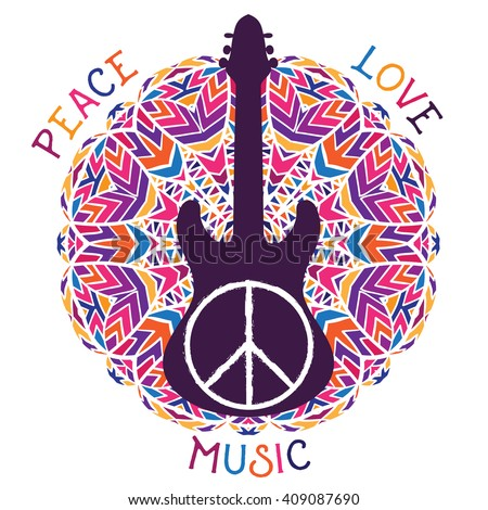 Hippie peace symbol. Peace, love, music sign and guitar on ornate colorful mandala background. Design concept for banner, card, scrap booking, t-shirt, bag, print, poster. Vector illustration - stock vector