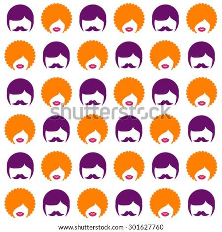 hippie retro seamless pattern  - stock vector