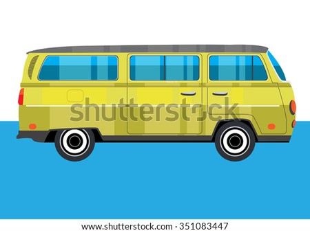 Hippie retro yellow Van on blue background