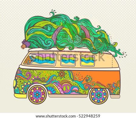 hippie style car tree ornamental retro stock vector royalty free 522948259 shutterstock. Black Bedroom Furniture Sets. Home Design Ideas