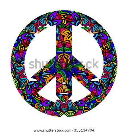 Hippie style. Groovy Ornamental of colorful retro peace sign 60s, 70s. Vector illustration  - stock vector