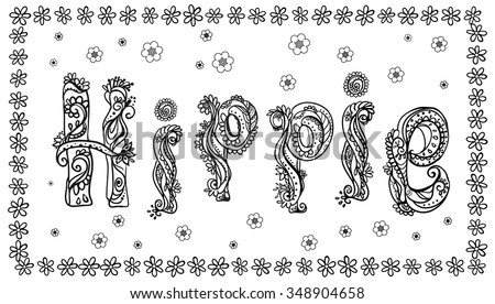 Hippie style. Ornamental retro background. Love and Music with hand-written fonts, hand-drawn doodle background and textures. Hippy color vector illustration. Retro 1960s, 60s, 70s  - stock vector
