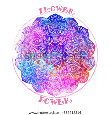 Hippie style. Ornamental retro Mandala Love and Music with hand-written fonts hand-drawn doodle background and textures Hippy color vector illustration. Retro 1960s, 60s, 70s. We love hitchhiking!  - stock vector
