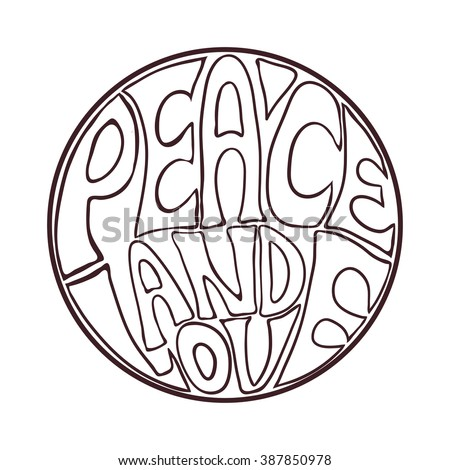 Hippie style. Ornamental vintage background. Love and Music with hand-written fonts, hand-drawn doodle background and textures. vector illustration. Woodstock Music and Art Fair. We love hitchhiking! - stock vector