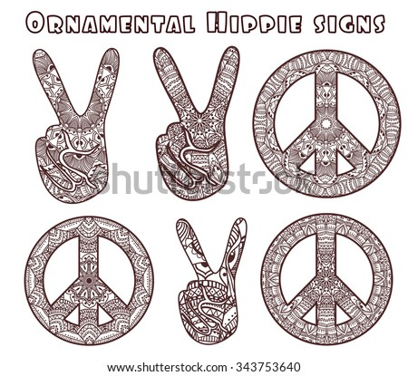 Hippie style. Ornamental watercolor background. Love and Music with hand-written fonts, hand-drawn doodle background and textures. vector illustration.  - stock vector