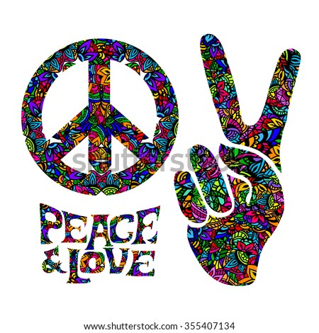 hippie symbols two fingers as a sign of victory, a sign of Pacific and letterin love and peace. In the style of the '60s,' 70s with elements of mehendi. - stock vector