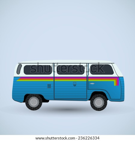 hippie van - vector illustration