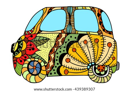 Hippie vintage car a mini van for adult anti stress. Coloring page with high details. Made by trace from sketch. Hippy color vector illustration.