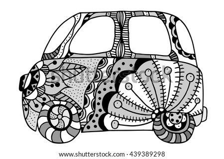 Hippie vintage car a mini van. Made by trace from sketch. Monochrome vector illustration. - stock vector