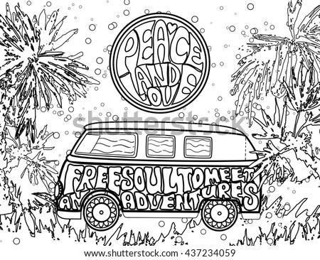 1960s coloring pages - hippie vintage car mini van ornamental stock vector