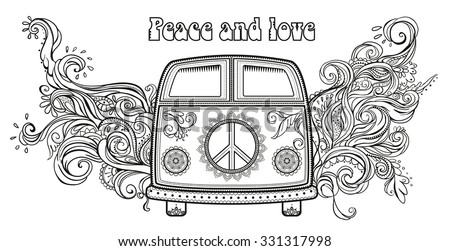 Hippie vintage car a mini van. Ornamental background. Love and Music with hand-written fonts, hand-drawn doodle background and textures. Hippy color vector illustration. Retro 1960s, 60s, 70s - stock vector