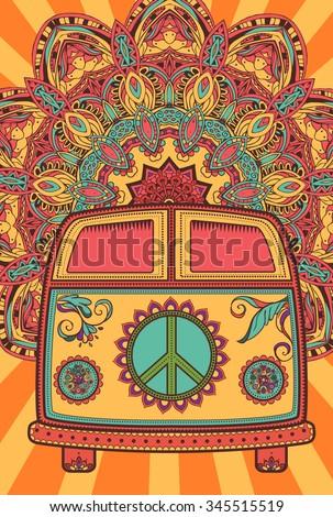 hippie vintage car mini van ornamental stock vector 345515519 shutterstock. Black Bedroom Furniture Sets. Home Design Ideas