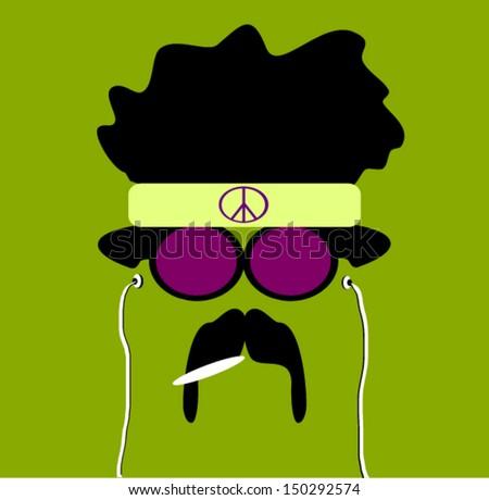 hippie with earphones and marijuana and peace sign on headband - stock vector