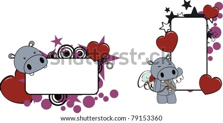 hippo cartoon copyspace in vector format