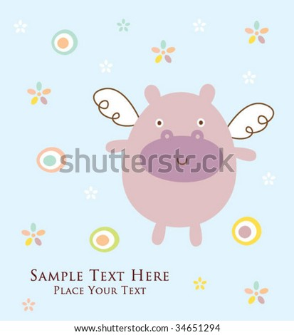 hippo greeting - stock vector