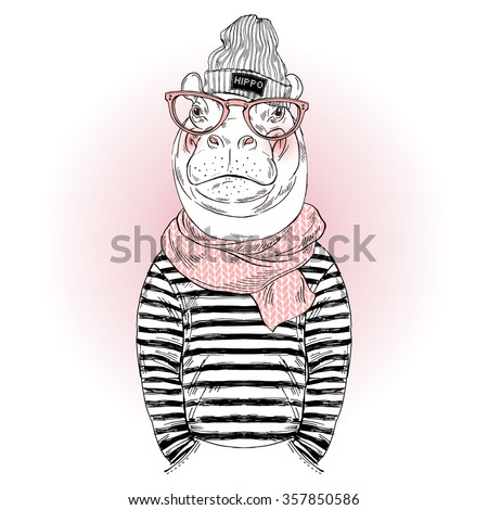 Hippo Hipster Dressed Frock Knitted Scarf Stock Vector ...