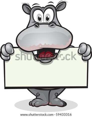 Hippo holding sign - stock vector