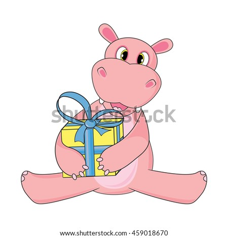 Hippo sitting and holding gift on white background in vector. - stock vector