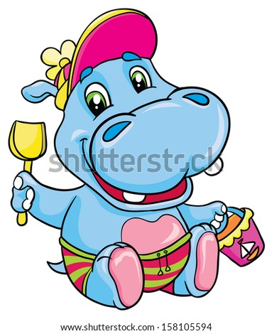 Hippo with a shovel and bucket, vector illustration - stock vector